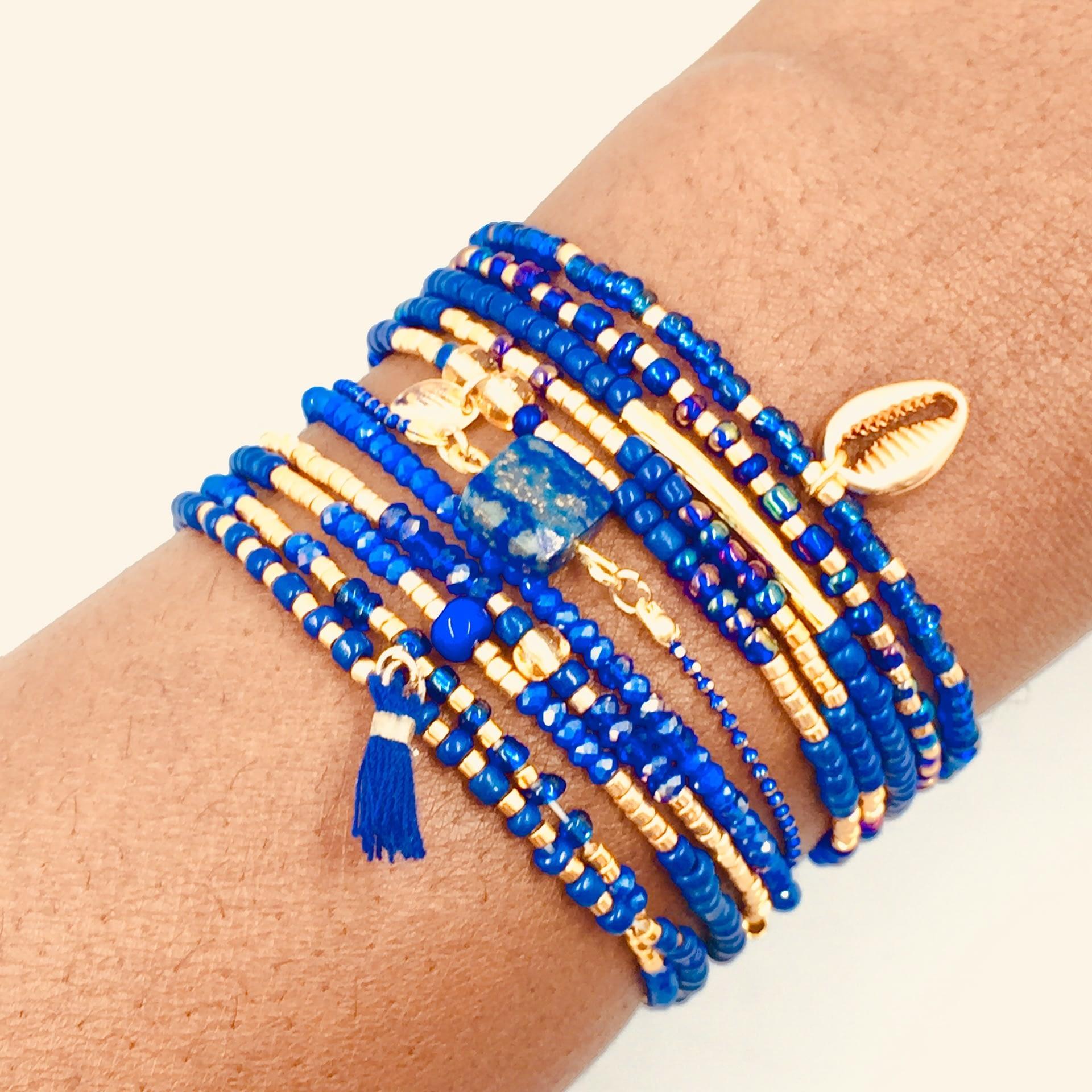 Le Bracelet élastique Mix - Bleu égyptien et or